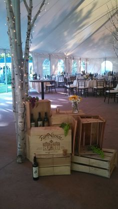 Entrance to Tent Wine Crates .. also notice the Birch Bark covering the Tent Pole... Detail... Details... Complete the Look.