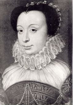 Renée de France by François Clouet. She was daughter to King Louis XII of France and his wife Anne of Brittany. She was sister to Claude, Queen of France.