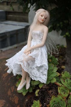 TristesseFairy by Johnston Original Art Sad Fairy, Fairy Music, Fairy Art, Fairies Photos, Polymer Clay Fairy, Sitting Poses, Clay Fairies, Doll Dress Patterns, Fairy Dolls