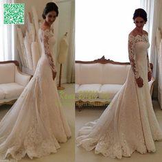 Encaje Elegante Vestidos De Novia Blanco Marfil en el hombro Jardín Novia Vestido 2015 in Ropa, calzado y accesorios, Boda y ocasión formal, Vestidos de novia | eBay