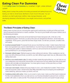 Eating Clean for Dummies, a little cheat sheet to help me understand....