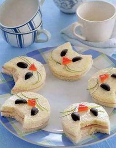 kindergeburtstag-Essen mit katze-sandwichen_coole kinder-party-ideen