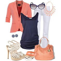 Coral and Navy Career Casual by fun-to-wear, via Polyvore.