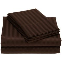 """600 Thread Count Egyptian Cotton Stripe Chocolate Short Queen Bed Skirt by Scala. $36.99. 1 Bed Skirt. Set Includes: 1 Full/Queen Size Bed Skirt 60"""" X 80"""" with 15"""" drop, Tailored style, split corners, Material: 100% Egyptian cotton,Sateen finish Bed Skirt, Single-ply, Care instructions: Machine washable."""
