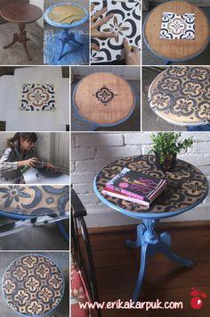 Mesa com Estêncil - DIY ♥