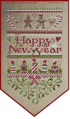 Happy 2015 to Cinnamon Girl in her cottage. Filigram - Cross Stitch Pattern