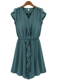 Teal Blue Belted Collarless V-neck Mini Chiffon Dress (can be worn with or without belt)