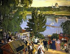 The Volga River at Tutayev. Painted in 1907. Kustodiev promenade Volga - Tutayev - Wikipedia, the free encyclopedia