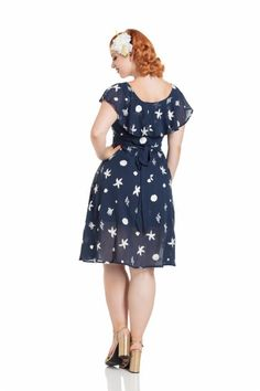 37691dc543f58 Feel flirty in this Ruffle Collar, Navy Blue with White Sea Shell and  Starfish Print