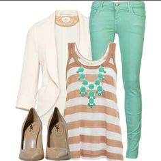 Outfits beige and turquoise