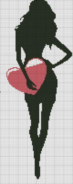 point de croix silhouette de femme avec un coeur - cross stitch silhouette of a woman with a heart❤️vanuska❤️ Cross Stitching, Cross Stitch Embroidery, Cross Stitch Patterns, Cross Stitch Angels, Cross Stitch Heart, Cross Stitch Silhouette, Stitch Doll, Pix Art, Sewing Projects For Kids