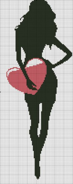 point de croix silhouette de femme avec un coeur - cross stitch silhouette of a woman with a heart