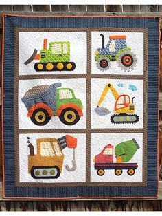 "Any little boy will adore this applique quilt pattern that features diggers and pushers of dirt. It's an easy applique project and will make for a lovely gift to hang in the new little man's nursery. Finished size is 47 1/2"" x 55 1/2""."