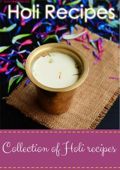 Thandai - maximum taste and flavor with minimum ingredients! For Indian Holi festival! Holi Recipes, Indian Food Recipes, Holi Sweets, Thandai Recipes, Holi Party, Holi Festival Of Colours, Fruit Drinks, Beverages, How To Make Drinks
