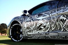 Graphic art design car wrap | black & white. Very cool www.SpeedproSilverSpring.com