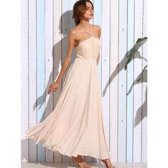 Light Pink Spaghetti Strap Lace Top Long Dress ($36) ❤ liked on Polyvore featuring dresses, a line dress, pink dress, long lace dress, long dresses and a line long dress