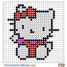 Hello Kitty 2 plantilla hama bead. Descarga una amplia gama de patrones en formato PDF en www.patroneshamabeads.com