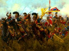 NAP: Battle of Quatre Bras, by Keith Rocco. The French Lancers charging against the British Regiment of Foot and trying to capture one of the flags of the Military Art, Military History, Napoleon French, Bataille De Waterloo, Battle Of Waterloo, Waterloo 1815, British Soldier, French Army, Historical Art