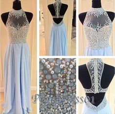 Long prom dress, ball gown, beaded high neck blue chiffon prom dress for teens #coniefox #2016prom
