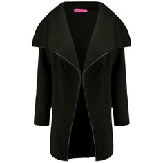 Boohoo Megan Quilted Waterfall Jacket   Boohoo (190 PLN) ❤ liked on Polyvore featuring outerwear, jackets, waterfall jacket, white cami, white jacket, pink duster coat and white blazer