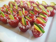 Strawberry margerita jello shots on The Tipsy Bartender's Youtube channel.