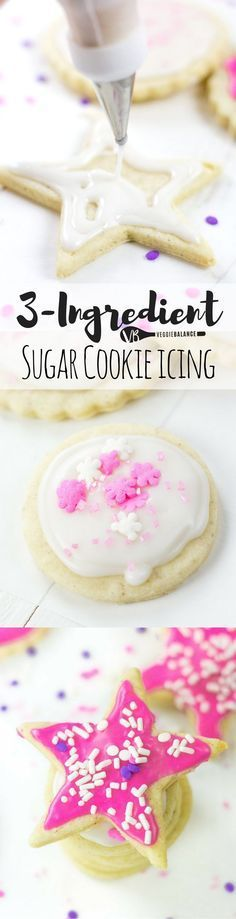 Sugar Cookie Icing for Cut out Cookies requires only 3 simple ingredients! We'll show you how to ice your sugar cookies and provide tips to make it easier! (Gluten Free, Dairy Free, Vegan)
