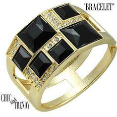 CLEARANCE BLACK & CLEAR BANGLE BRACELET RHINESTONE CRYSTAL FORMAL WEDDING TRENDY #Unbranded #Bangle