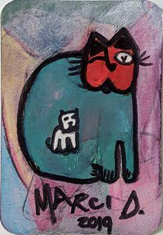 Eine Visitenkarengrosse Zeichnung von Marci Del Mastro Bipolar, The Outsiders, Presents, Cool Stuff, Random, Artist, Cats, Random Stuff, Gifts