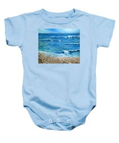 Purchase a baby onesie featuring the image of Expectations by Faye Anastasopoulou.  Available in sizes S - XL.  Each onesie is printed on-demand, ships within 1 - 2 business days, and comes with a 30-day money-back guarantee,  apparel, wear, clothing, summer, designed, artistic, unique, light blue