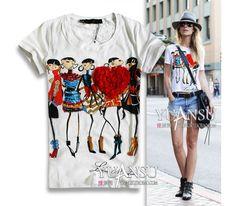 Эффектная белая футболка с рисунком стильных девушек и аппликацией в виде красного сердца
