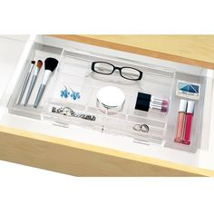 Take the clutter off your desk or vanity with this adjustable hanging drawer organizer! With its unique design, you can place it flat on the bottom of a drawer or maximize space and hang it width-wise across the inside, allowing for extra storage underneath Hanging Drawer Organizer | STORi http://www.shopstori.com/product/hanging-drawer-organizer/