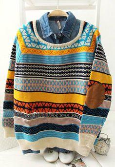 Image of  [grzxy6600224]Folk Style Retro Geometric Figure Stripe Print Knit Sweater
