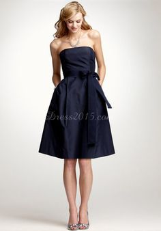 Chic with pockets knee-length dark navy bridesmaid dress - Dress2015.com