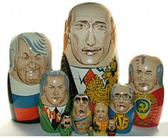Russian History.  Russian rulers as nesting dolls: barely visible in the front is Stalin.  There is perhaps a political statement implied in this clever take on a traditional Russian craft.