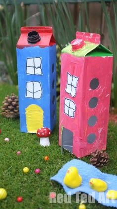 Fairy Houses made from upcycled milk cartons.