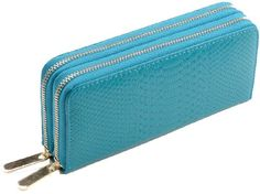 Heshe Women's Genuine Leather Croco Purse Wallet with Zippered Clutch (Blue)