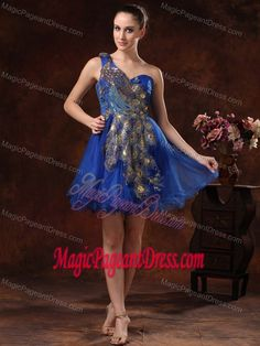 Feather One Shoulder Embroidery Mini-length Royal Blue Pageant Dress