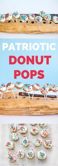 Festive 4th of July Donut Pops. Fun treat for kids for your patriotic party!