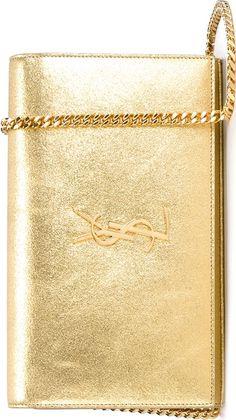 Saint Laurent Gold 'Monogram' Chain Wallet