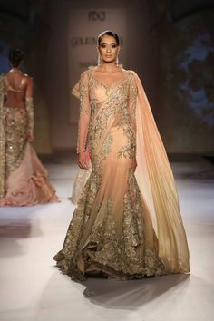 Gaurav Gupta at India Couture Week 2014 - beige champagne gold lehnga with layers