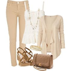 """beige jeans and tank"" by missyalexandra on Polyvore"