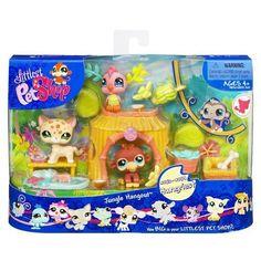 New LPS Littlest Pet Shop JUNGLE HANGOUT Pets Play Set Retired Hasbro Bobble Head Toys