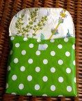 bike bag, oilcloth, green and dots