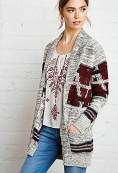shawl collar geo cardigan