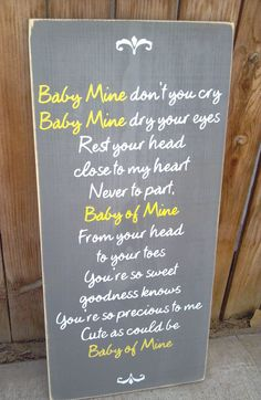 Baby Mine Dumbo Disney Nursery Song Wooden by SaltboxHouseSigns, $38.00