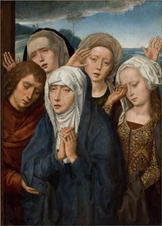 The Mourning Virgin with St. John and the Pious Women from Galilee - Hans Memling Completion Date: 1485 Style: Northern Renaissance Genre: religious painting Dimensions: 51 x 40 cm Gallery: São Paulo Museum of Art, São Paulo, Brazil