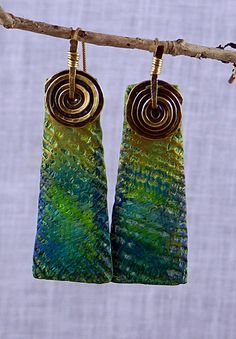Nile Earrings - Polymer clay by Stories They Tell, via Flickr. Love the texture on these.