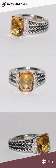 David Yurman Petite Wheaton Ring✨ Gorgeous Authentic David Yurman Petite Wheaton Citrine ring size 6. Like new! No signs of wear.  Faceted citrine center stone 10x8mm, 0.08 ct total weight pave diamonds. David Yurman Jewelry Rings