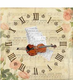 Álbum de imágenes para la inspiración | Aprender manualidades es facilisimo.com Decoupage Vintage, Art Vintage, Decoupage Paper, Vintage Ephemera, Paper Clock, Clock Art, Vintage Pictures, Vintage Images, Clock Printable