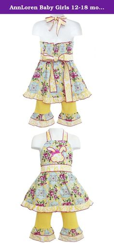 AnnLoren Baby Girls 12-18 mo Floral Bunny Halter Easter Dress & Capri Outfit. Another adorable outfit from AnnLoren! This lovely outfit features a Shabby Chic Floral Damask Printed Halter Top with a stylish Bunny Applique, with a lovely Yellow Damask Sash and shoulder straps that tie in back. Outfit also features Yellow Jersey Capris with coordinating trim and an elastic waistband for a comfortable fit. Made with 100% Cotton and Machine Washable. SKU: BUNNY-SS-2NS.